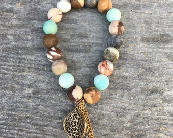 Natural Amazonite Stone beaded bracelet
