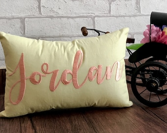 30% OFF SALE Custom Name Pillow Personalized Kids or Last Name Couple Wedding Love Anniversary Gift In All Sizes And Colors Hand Embroidered
