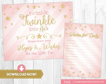 Twinkle Twinkle Little Star Wishes For Baby Card • Well Wishes • Baby Shower Wishes Sign and Card Printable Instant Download • BS-T-01