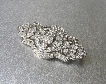 Art Deco Rhinestone Brooch Vintage Costume Jewelry Pin European Cut Wedding Gown Clip Chic Something Old Great Gatsby Downton Abbey Bride