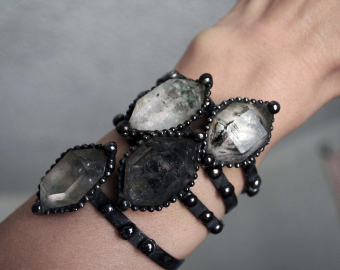 Tibetan Quartz Cuff Bracelet // Skinny Double Terminated Crystal Bracelet // Adjustable Clear Crystal Bracelet