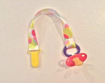 Pastel Polka-Dot Woven Ribbon Pacifier Clip