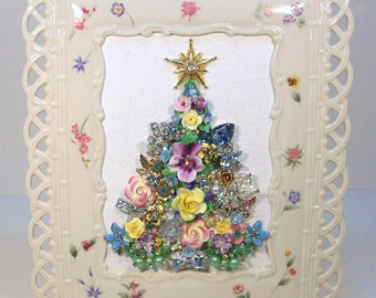 SOLD - Do Not Purchase!!....Framed Collage Vintage Jewelry CHRISTMAS TREE.....So Pretty!!