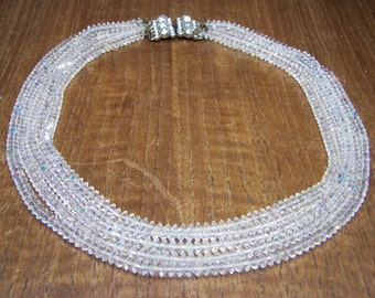 Vintage Clear Crystal Necklace with Jeweled Clasp Unsigned