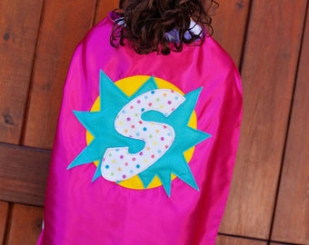 Birthday Cape - Girls Party Cape - Satin Cape with Felt Initial - Superhero Capes for Girls - Personalized Superhero Capes - Ships Quickly