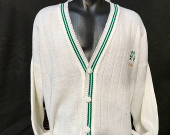 80's made in Ireland white cardigan