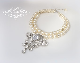 Wedding Jewelry Double strands Swarovski Pearl Necklace Rhinestone Necklace with Raindrop Bridal Jewelry Bridesmaids jewelry - ADABEL
