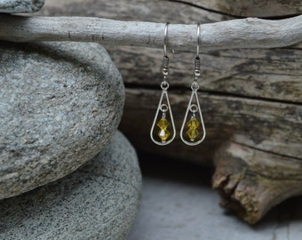 Sterling Silver & Light Topaz Swarovski Crystal Earrings