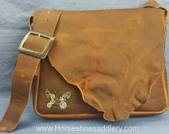 Brown Oiled Leather Messenger Bag made in the USA