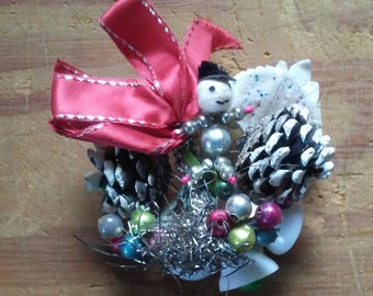 Vintage Christmas Corsage Mid Century package tie on holiday decoration 1950s Snowman mercury glass beads pinecones tinsel