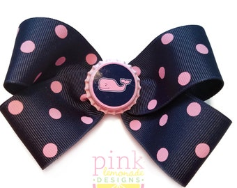 Large Navy and Pink Whale Hair Bow