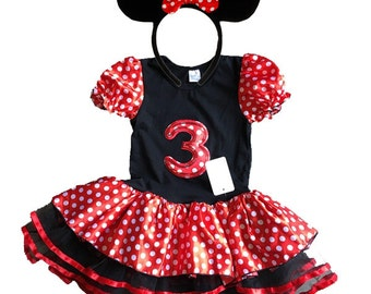 Minnie Mouse Red Birthday Dress 3 year old + FREE Headband Girl Baby Toddler