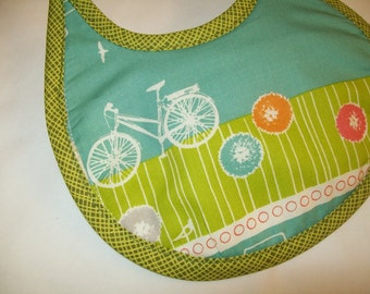 Organic Baby Bib - Bicycle - Blue - Green - Can be Personalized with a Name
