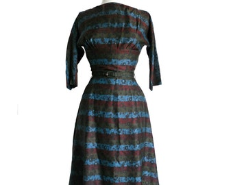 Vintage 1940s Dress R & K Original Maroon, Light Blue, and Green Stripes w/ Black Floral Pattern - 3/4 Sleeves and Matching Belt