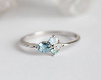 Engagement Ring, Birthstone Ring, Moonstone Ring, Aquamarine ring, Cluster Ring, Cluster Engagement Ring, Tiny Cluster Ring, White Gold