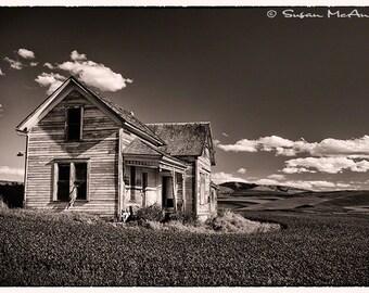 Desperation, Black and White Print, Wood Farmhouse, Home Decor, Wall Art, Landscape Photograph, Rustic Photograph Print, Archival Print