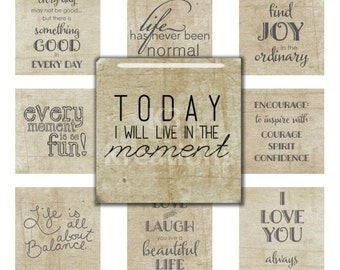 Inspirational Sayings 1x1 inch - Digital Collage Sheet Printable Instant Download  for Glass, Resin Square Pendants & Magnets sq1