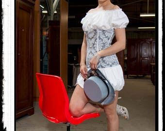 """Virgin Steampunk"": gray and white steampunk dress"