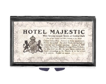 Hotel Majestic Hotel NY Pill Case with Mirror pill box 3 day sections  shabby cottage chic vintage New York hotel ad
