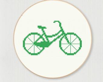 Vintage bicycle cross stitch pattern, instant digital download