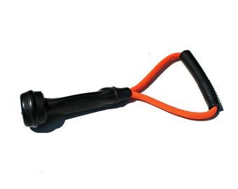 Dog Toys - Upcycled Cow Milking Tube Rubber Tug Toy - Orange Original Size