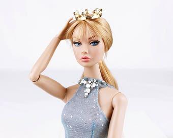 A032A Gold Mini Crown Doll Crown Hair Accessories Barbie Fashion Royalty Poppy Parker Silkstone