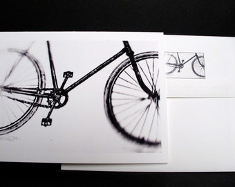 Bicycle Route, Bicycling, Set of 4 blank cards, 4x6