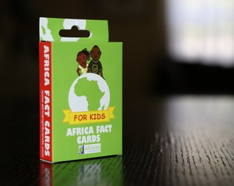 Africa Educational Fact Cards for kids. African fun facts flash cards