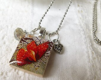 Red and Brown Butterfly Scrabble Tile Pendant Necklace with Crystal and Charm on Micro Ball Chain