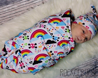 Rainbow and Skull Receiving Blanket swaddle and newborn beanie hat set any color cotton knit on back 30x35 unicorn clouds hearts