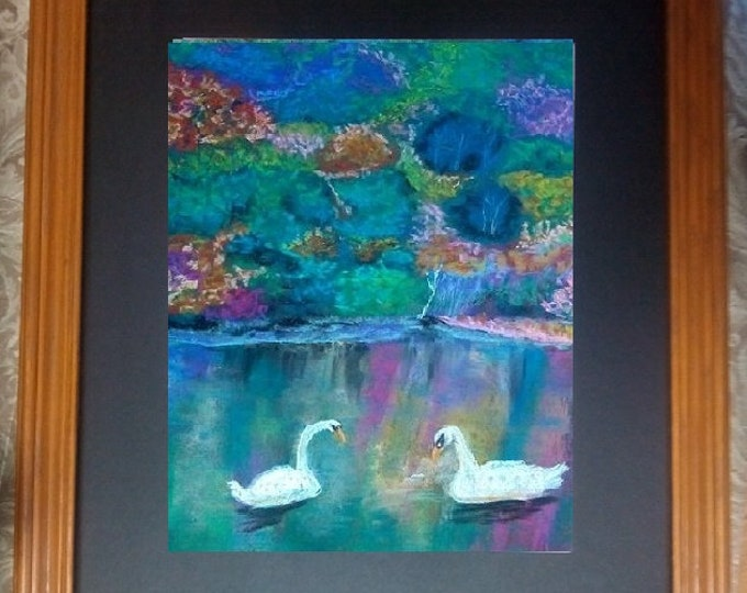 "11x14 Original Soft Pastel Painting, Pastel Landscape Signed Artwork, ""Swans Admiring Reflected Waters"""
