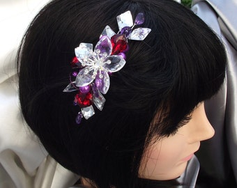 Glamorous rhinestone hair piece, rhinestone fascinator, bridesmaids hair comb, glamorous updo piece, purple hair pin