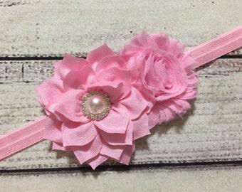 Pink Baby Headband , Flowers Baby Headband ,Shabby Chic Headband ,Pink Flowers Headband , Baby Headband, Newborn headband
