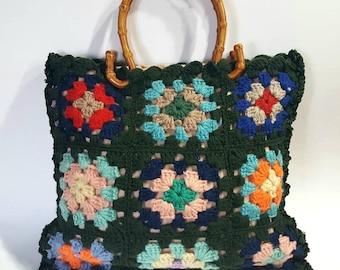 Granny square bag, upcycled purse, granny square purse, crochet purse, crochet bag, upcycled tote, upcycled bag,  boho bag, upcycled handbag