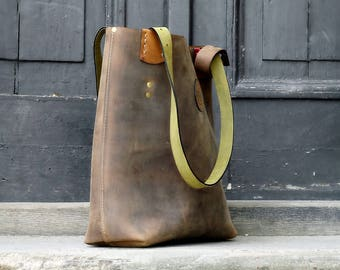 Vintage Brown Tote Bag oversized handmade leather shoulder bag Zuza Smaller Size collection by Ladybuq