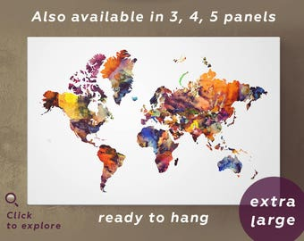 World Map Canvas Large Print Wall Art 3 or 5 Panel Watercolor World Map Print on Canvas Wall Art for Home and Office Wall Decoration