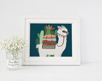 Nursery Girl Decor Nursery Boy Nursery Decor Llama Art Print Llama cactus Alpaca cactus Alpaca Art Print Nursery Art Print Blue llama