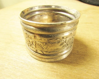 Victorian Silver Plate Napkin Ring Aesthetic Movement Shabby with Birds