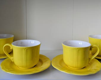 Lemon Federalist Teacups and Saucers
