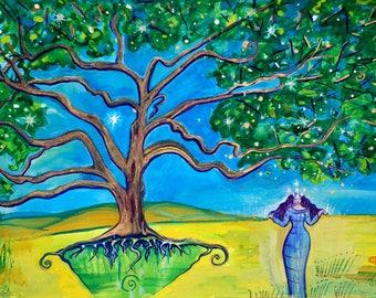 Star Tree Goddess Study 2 - Mythological Goddess Art