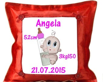 Red cushion Date, time weight birthstone personalized with name