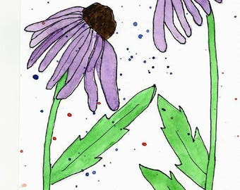 Original Artwork Watercolor and Ink Painting - Purple Cone Flowers Echinaceas Nature Art