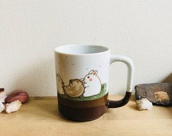 vintage coffee & tea mug with pigs
