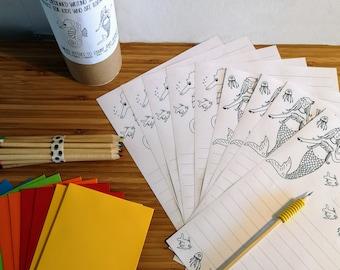 Kids Writing Set - Seaworld theme- ColourIt Range - Great to start kids writing to family and friends!