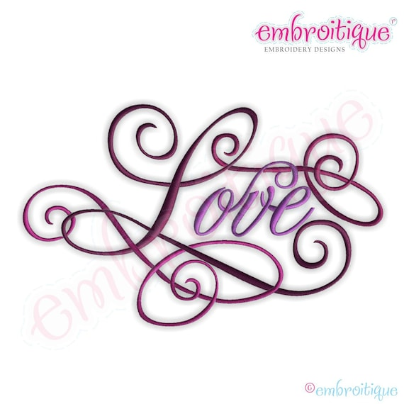 Love calligraphy script embroidery design small instant for Embroidery office design version 9