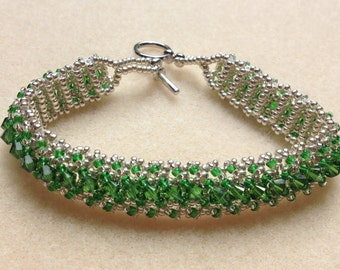 Beaded Swarovski Crystal Bracelet-Dark Green-8 in.