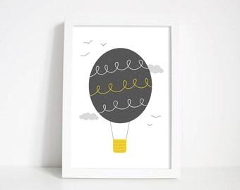 Hot Air Balloon Nursery Wall Art - Balloon Print - Nursery gift - new baby gift - christening gift | gifts for kids
