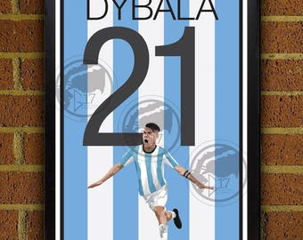 Paulo Dybala Argentina Poster - Juventus Soccer Poster- poster, art, wall decor, home decor, world cup, dybala print, dybala art