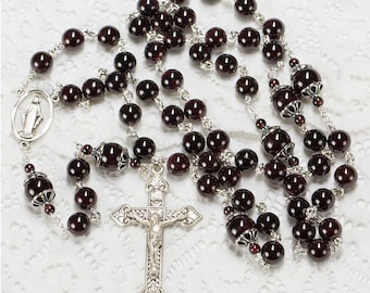 Garnet Women's Catholic Rosary Handmade with Sterling Silver Bead Caps & Miraculous Medal Center - Custom, Heirloom Rosaries Gift for Women