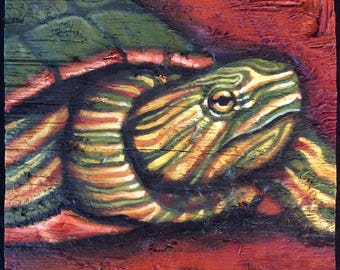 Painted Turtle Painting on Weathered Plywood